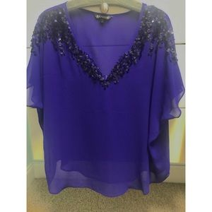 Express Purple Sheer Blouse with Sequins. Size L